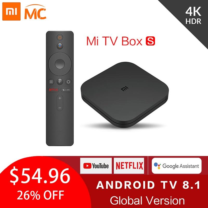 Оригинальная глобальная Xiaomi Mi ТВ коробка S 4K ТВ приставка Android ТВ 8,1 со сверхвысоким разрешением Ultra HD, 2G 8G WI FI Google Cast Netflix IPTV Set Top Box 4 Media Player