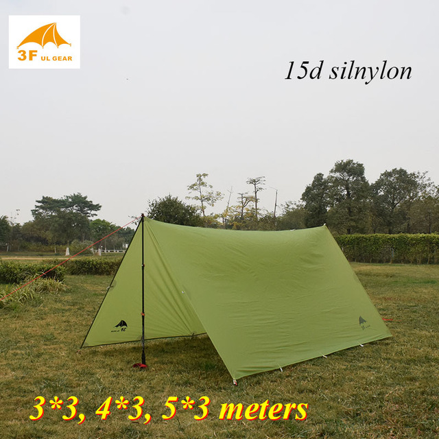 3f ul 기어 15d silnylon 3*3/4*3/5*3 미터 옥외 큰 방수포 대피소 고품질 바닷가 천막