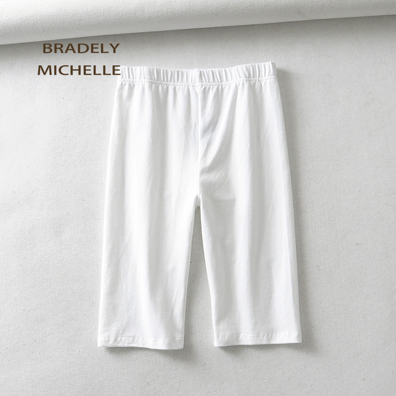 BRADELY MICHELLE sexy women cotton high waist elastic pure color slim Knee-Length bikeshorts leggings female 3