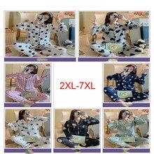 Pijamas femininos sexy impressão dot verão feminino pijamas camisa longa tamanho grande 2 peças/set ponto lingerie casa terno 2xl-7xl