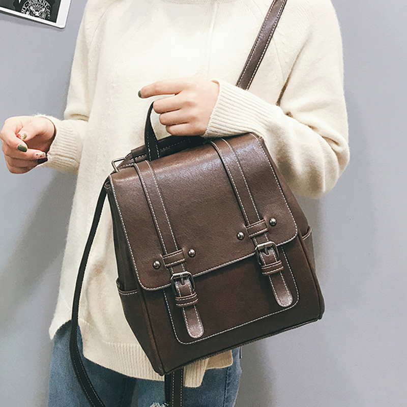 New Vintage Women Backpack High Quality Leather School Bags For Girls Lady Simple Style Backpack Fashion Leisure Pu Shoulder Bag