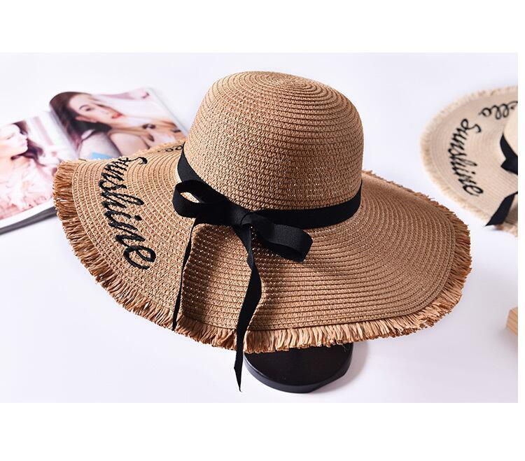 H2552f36402134ea5a4479f6db5abbb21G - Handmade Weave letter Sun Hats For Women Black Ribbon Lace Up Large Brim Straw Hat Outdoor Beach hat Summer Caps Chapeu Feminino