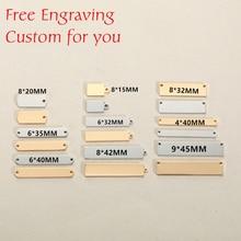 MYLONGINGCHARM Free engraving 30pcs stainless steel rectangle bar connectors custom logo or design  Rectangle Necklace Pendant