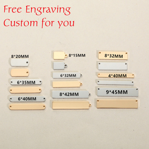 Image 1 - Mylongingcharm livre gravura 30 peças de aço inoxidável retângulo barra conectores logotipo personalizado ou design retângulo colar pingente