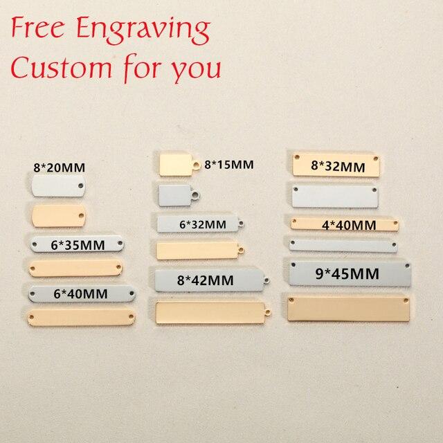Mylongingcharm livre gravura 30 peças de aço inoxidável retângulo barra conectores logotipo personalizado ou design retângulo colar pingente
