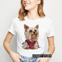 Camiseta Terrier Remera-De-Tacn Estampado-De-Yorkshire Para Alto-Con Mujer Playera
