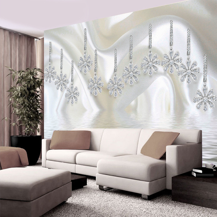 TV Backdrop Wallpaper 3D Simple Wall Cloth Diamond Jewelry Mural Crystal Butterfly Flower Wallpaper Mural