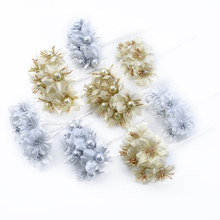 6PCS Silk stamen flowers for scrapbooking pompon christmas decorations for home diy gifts candy box Bride wrist flower material(China)