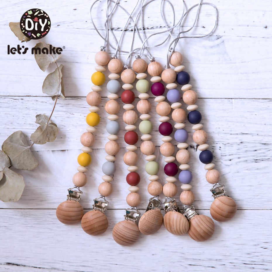 Let's Make 1pc Baby Pacifier Chain Beech Wood Pacifier Clips Silicone Beads Colorful Baby Pacifier Chain Holder For Nipples