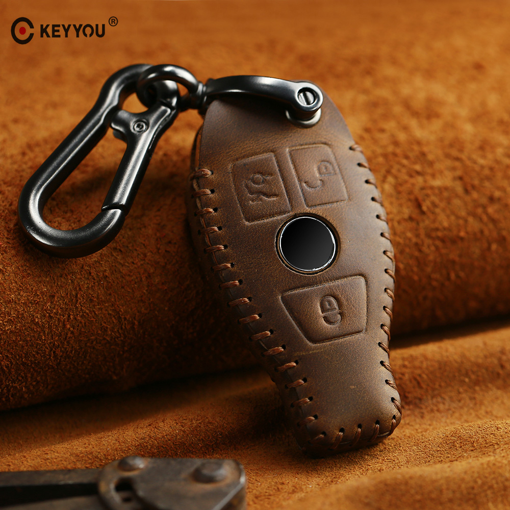 KEYYOU Genuine Leather Car Key Bag Case Cover Key Holder Chain For Mercedes BENZ Accessories W203 W210 W211 W124 W202 W204 AMG|Key Case for Car| |  - title=
