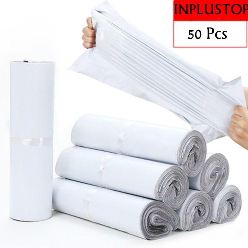 Непрозрачные полиэтиленовые пакеты INPLUSTOP 50 шт./лот для хранения Экспресс-конвертов белого цвета, пакеты для почтовых отправлений, самоклеящ...
