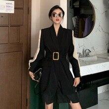 Модные приталенные женские блейзеры осень зима размера плюс блейзер для женщин элегантные Подиумные Дамские куртки пальто деловой Блейзер 0082