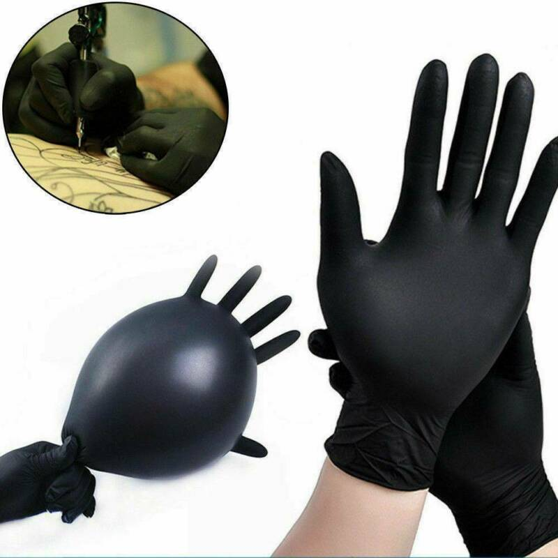 100pcs Vinyl Disposable Gloves Powder & Latex Free Strong Black Food Nitrile