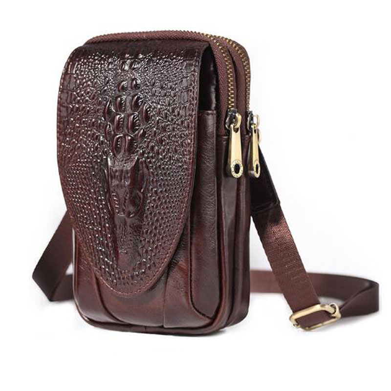 Men Leather Crocodile Grain Waist Bag Small Shoulder Bags Purse Hip Bum  Cell Phone Case Hook Belt Fanny  Cross Body Pack