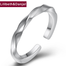 Women Adjustable Ring 100% Real 925 Sterling Silver Creative Smooth Opening Wedding Rings Fine Jewelry bagues pour femme 2019 R3