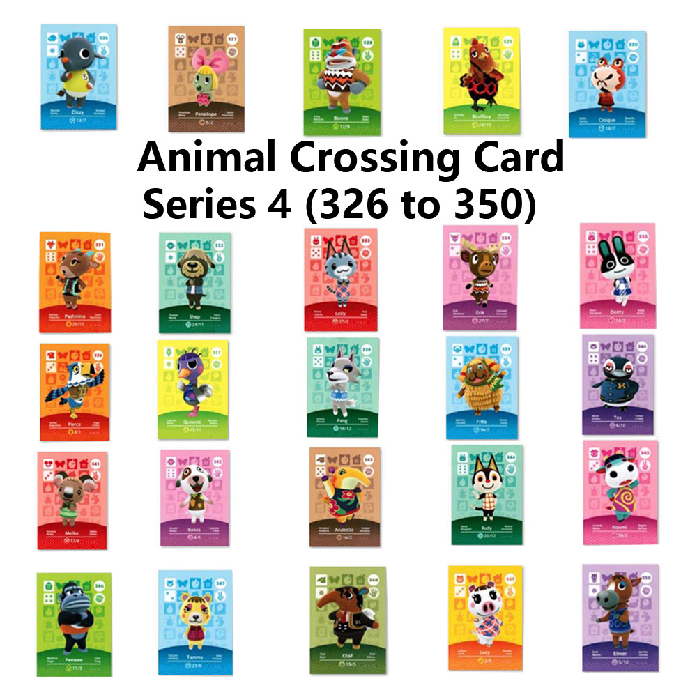 Series 4 (326 To 350) Animal Crossing Card Amiibo Locks Nfc Card Work For NS Games Series 4 (326 To 350)