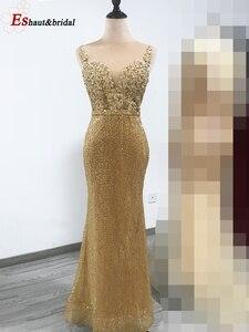Image 2 - 2020 新着ゴールドスパンコールイブニングドレス V ネックノースリーブ取り外し可能な岬ロングパーティーウェディングドレス