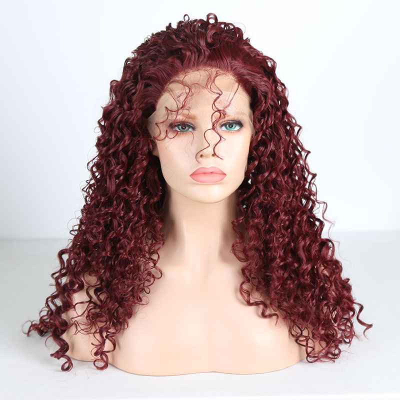 RONGDUOYI Long Curly High Temperature Fiber Synthetic Lace Front Wigs for Women Burgundy Hair Glueless Lace Wig with Free Part