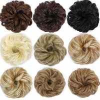 Allaosify Synthetic Fake Hair Bun Chignons Hairpiece for Women Scrunchies Hair Piece Bun Hair Tail Updo Curly Bun Donut Hair Red