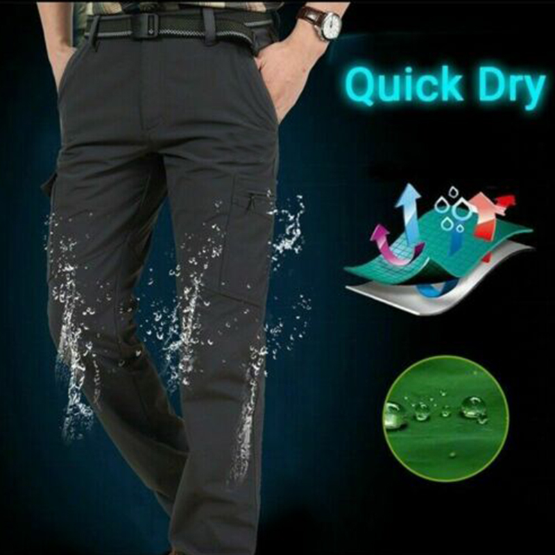Men Work Multi-Pockets Cargo Pants Climbing Hiking Quick Dry For Outdoor Summer -OPK