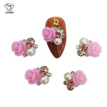 LEAMX 10PCS Japanese Resin Flower Rhinestones Pearl Nails Art Decorations 3D Metal Nail Charms Girls UV Gel Manicure Tools L537 недорого