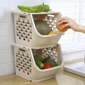 Image 2 - 2020 المطبخ سلة التخزين البلاستيك متعددة الوظائف الخضار الفاكهة رفوف يمكن مكدسة سلة التخزين المنظمون صندوق تخزين