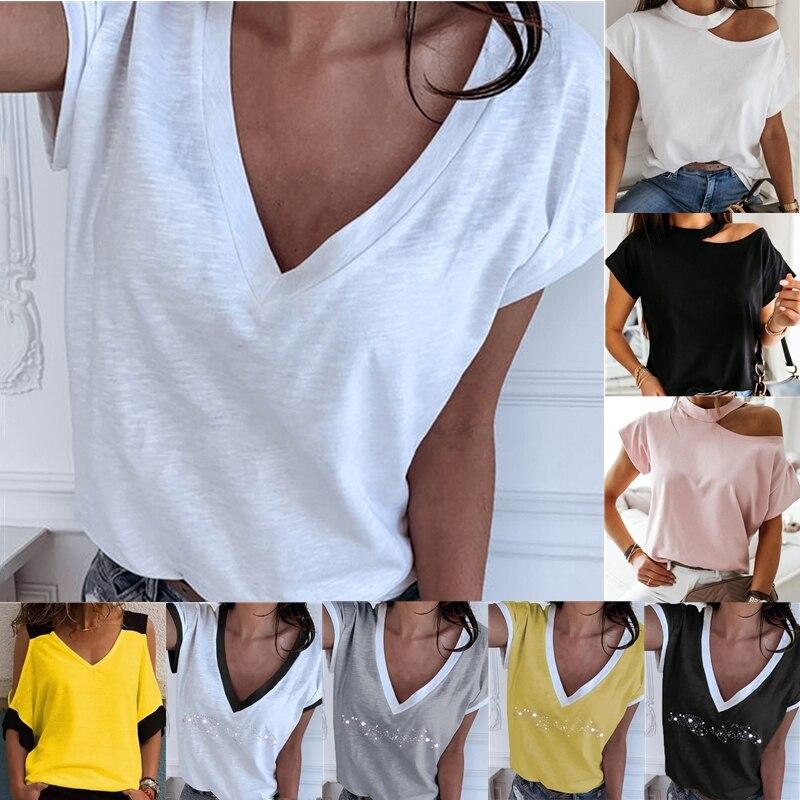 GAOKE White Summer T Shirt Women Casual Womens Tee Shirts Harajuku Plus Size Tops Short Sleeve T-shirt Ladies Women Clothings 1