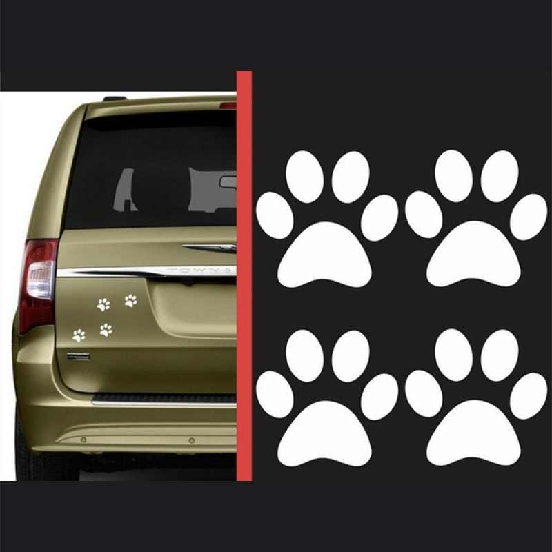 4 шт. Автомобильная наклейка из ПВХ 3D собачья лапа Наклейка виниловая мультяшная животная следы панда кошка лапка для ног прогулочная стена украшение для дома