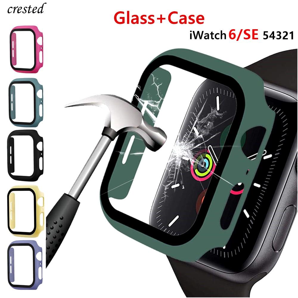 Стекло и крышка для Apple Watch, чехол 44 мм 40 мм 42 мм 38 мм, чехол для iWatch, аксессуары, бампер + защита для экрана Apple watch, серия 3 4 5 6 SE