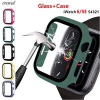Cristal + cubierta para carcasa de reloj Apple, 44mm, 40mm, 42mm, 38mm, accesorio para iWatch, parachoques + Protector de pantalla para Apple Watch serie 3 4 5 6 SE