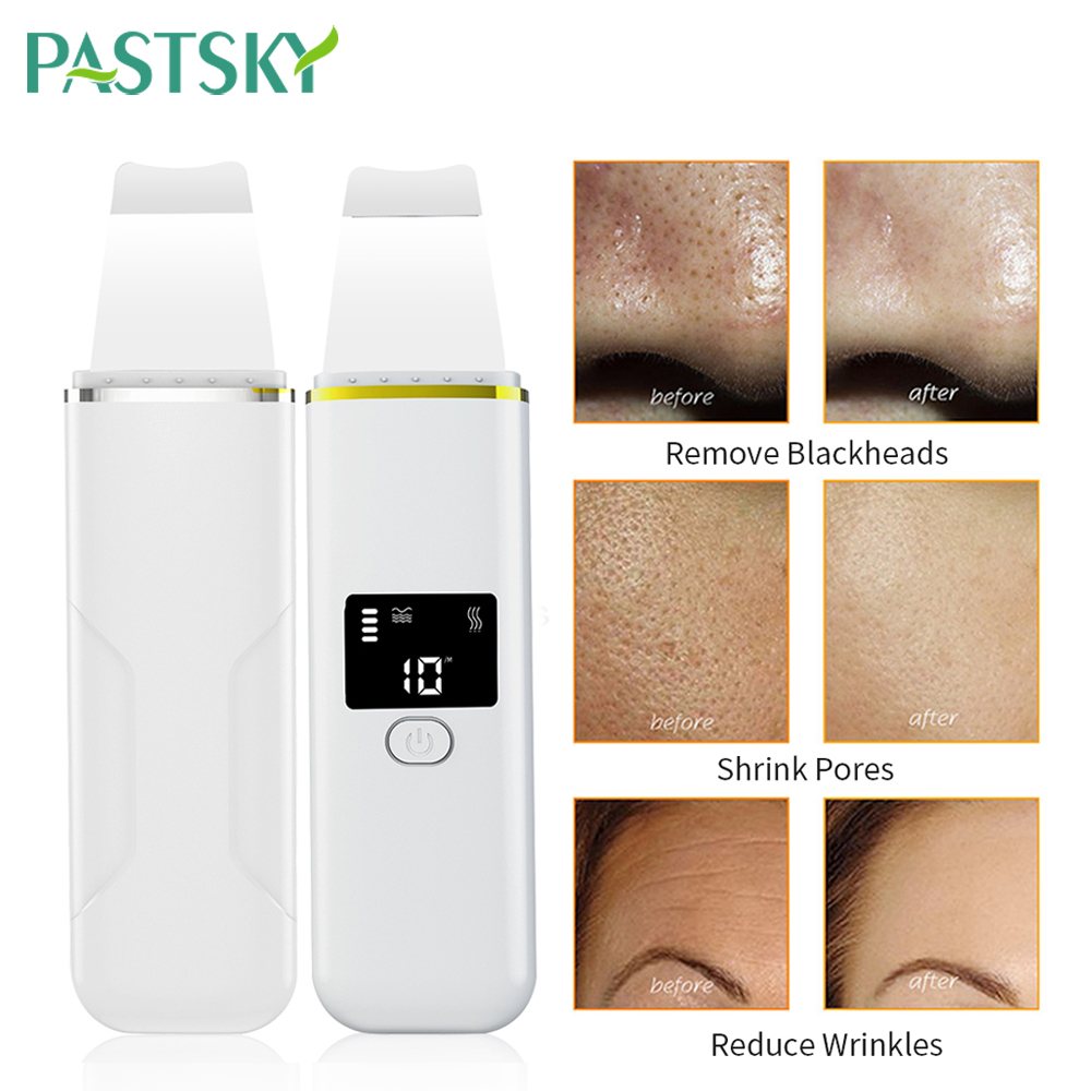Ultrasonic Skin Scrubber Ion Deep Face Cleaning Vibration Massager Acne Blackhead Removal Pore Cleaner Tool Face Spa Peeling