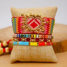 1 Set Female Rainbow Love Heart Bracelet Handmade Woven Beads Bangle Women Jewelry Friendship Gifts