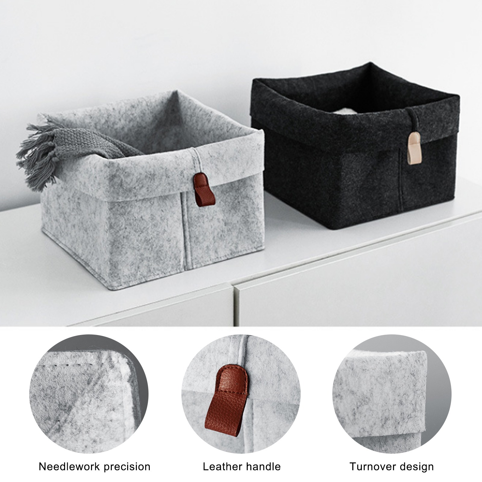 1pc Felt Storage Basket Living Room Tea Table Black Gray Sundries Storage Basket Cloth Felt Storage Box Bedroom Socks Storage