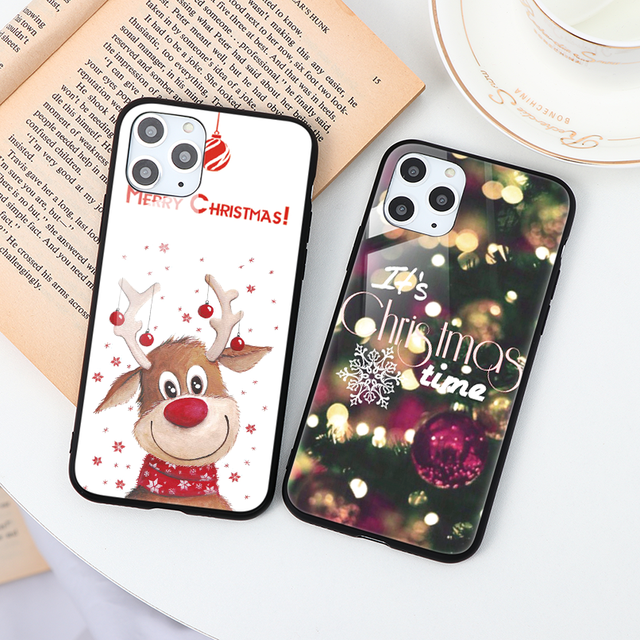 For iPhone 11 Silicone Christmas Santa Claus Tempered Glass Case For iPhone 7 8 11 Pro MAX XS XR X XS Max 6 6S Plus 7 Plus Cover