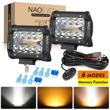 NAOEVO 4x4 Off Road led lights Pods 4inch 120w 6 Modes Strobe Fog Driving LED Work Light Bar For Auto atv Motorcycle Truck Jeep