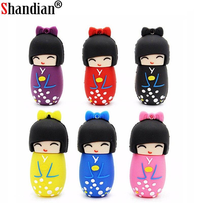 SHANDIAN Promotion Japanese Doll Usb Flash Drive USB 2.0 64GB Memory Stick Pen Drive 4GB 8GB 16gb 32gb 64gb Pendrive 16GB 32GB