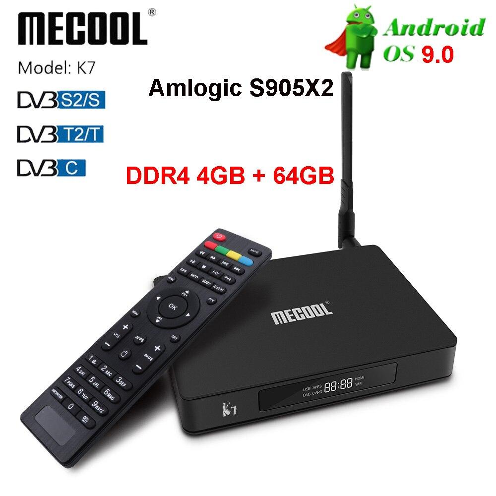 MECOOL K7 Smart Tv Box Android 9,0 Amlogic S905x2 2,4G 5G WIFI LAN 10/ 100M Bluetooth 4,1 4GB 64GB DVB S2/S DVB T2/T DVB C Tv Box