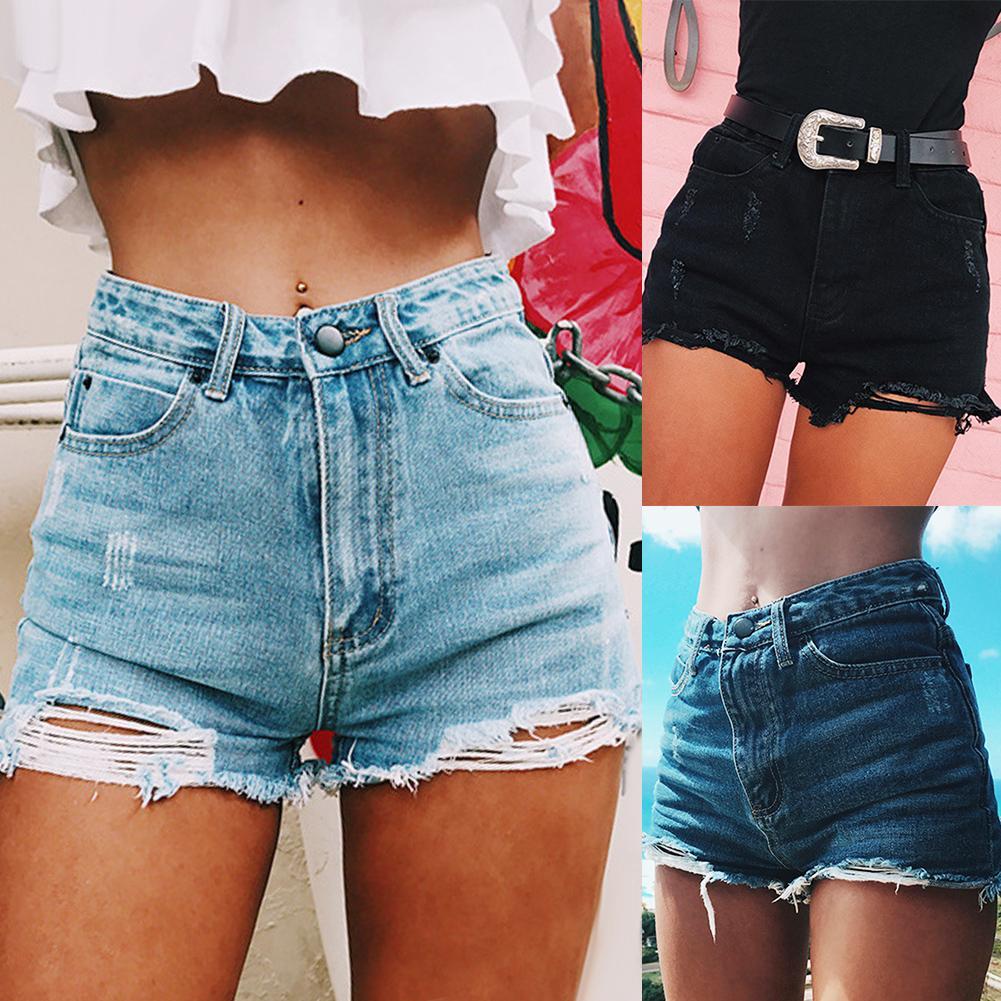 Модные женские рваные Рваные джинсовые шорты с высокой талией, летние женские повседневные свободные уличные джинсы, идеальные Летние повседневные|Шорты|   | АлиЭкспресс
