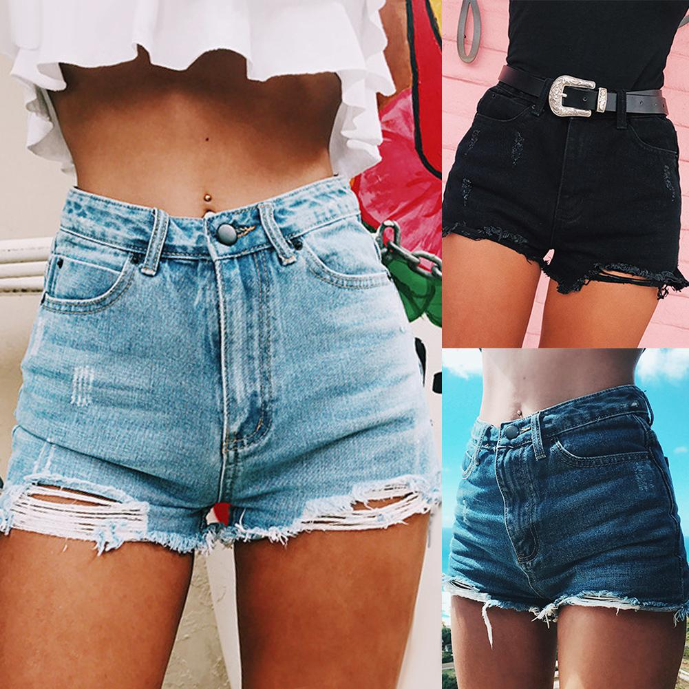 Fashion Female Ripped Frayed Hole High Waist Denim Shorts Summer Women  Lady Casual Loose Streetwear Jeans Perfect Summer Daily