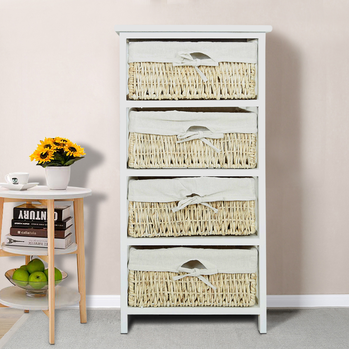 Panana Economic Storage Organizer Drawers with 4 Wicker Baskets Wooden Frame Entrance Changing Shoe Home Furniture|  - title=
