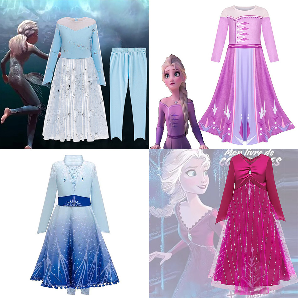 Newest Snow Queen 2 Queen Elsa Dress Princess of Arendelle Anna Costume Elsa Cosplay Costume with Accessory Wig Olaf's Adventure(China)