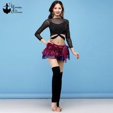 Lace Chiffon Belly Dance Costume New Sexy Dance Practice Clothes Fashion Mini Skirt Hip Scarf Black Long Sleeve Belly Dance Tops