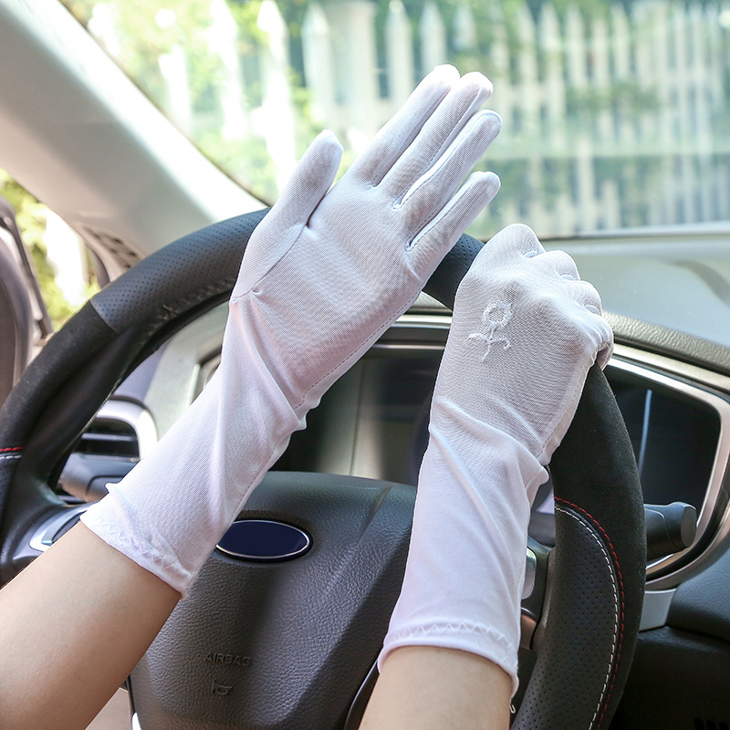 1Pair Floral Embroidered Women Sunscreen Gloves Summer Spandex Gloves Anti-UV Mid-long Driving Glove High Elastic Thin Glove Hot