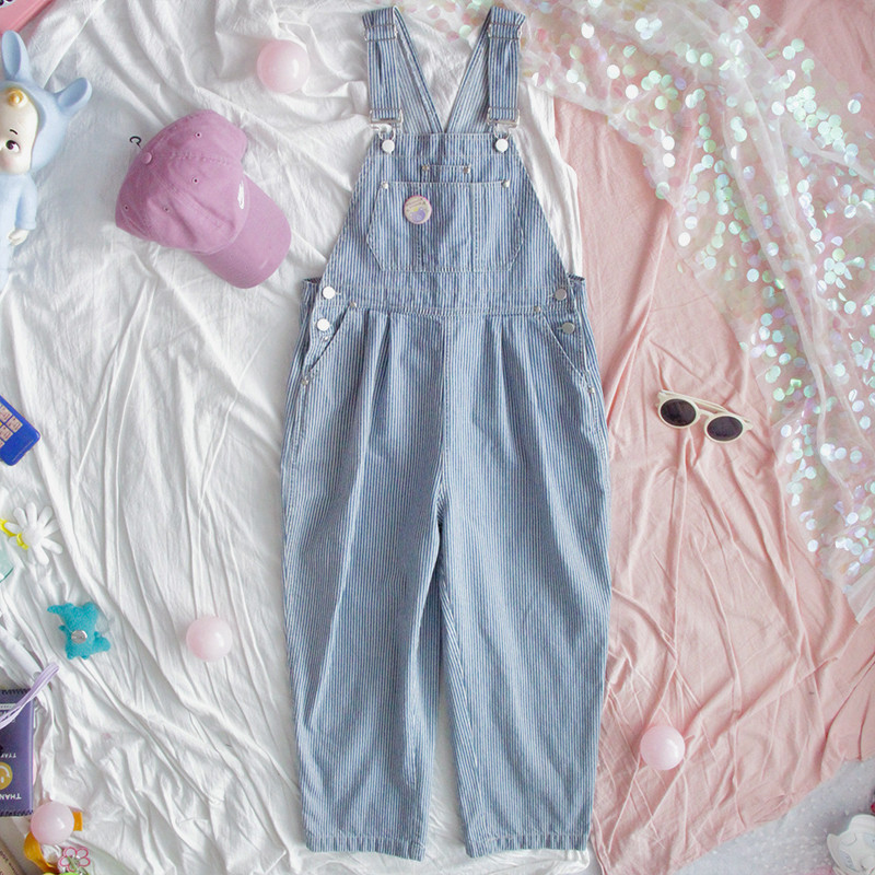 Harajuku Striped Denim Jumpsuit Women Romper Teenage Girl Kawaii Loose Jeans Strap Long Pants Korean Cute Ladies Casual Overalls