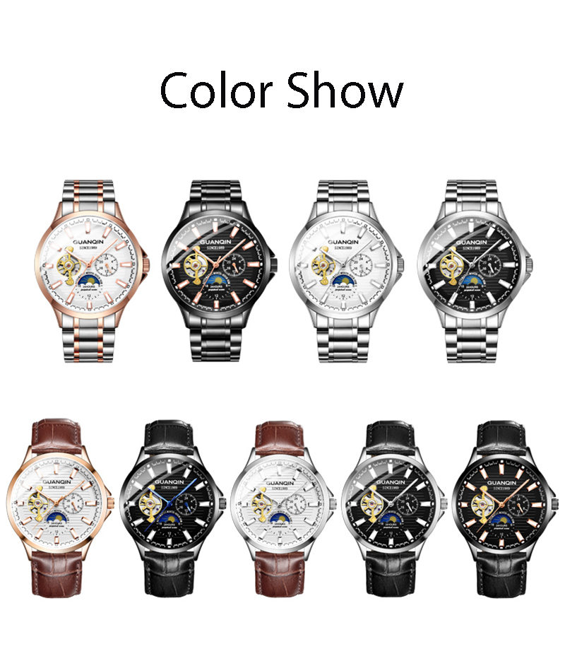 H2554dd342aed4ea098aea17c2b25405dC GUANQIN 2019 automatic watch clock men waterproof stainless steel mechanical top brand luxury skeleton watch relogio masculino