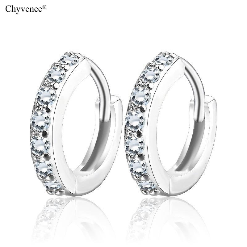 Женские серьги кольца chyvenee Классические Круглые Серьги серебряного