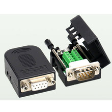 DB9 bez spawania wtyk męski gniazdo żeńskie klamra zestaw powłoki RS232 9 Pin złącze portu szeregowego RS485 RS422 interfejs D Sub9 Adapter