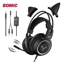 Auriculares con cable para Gamer, cascos negros para Oreja de Gato, PS4, teléfono, PC, con micrófono de 3,5mm, Gaming Phone, PS4, Overear Gamer G951s