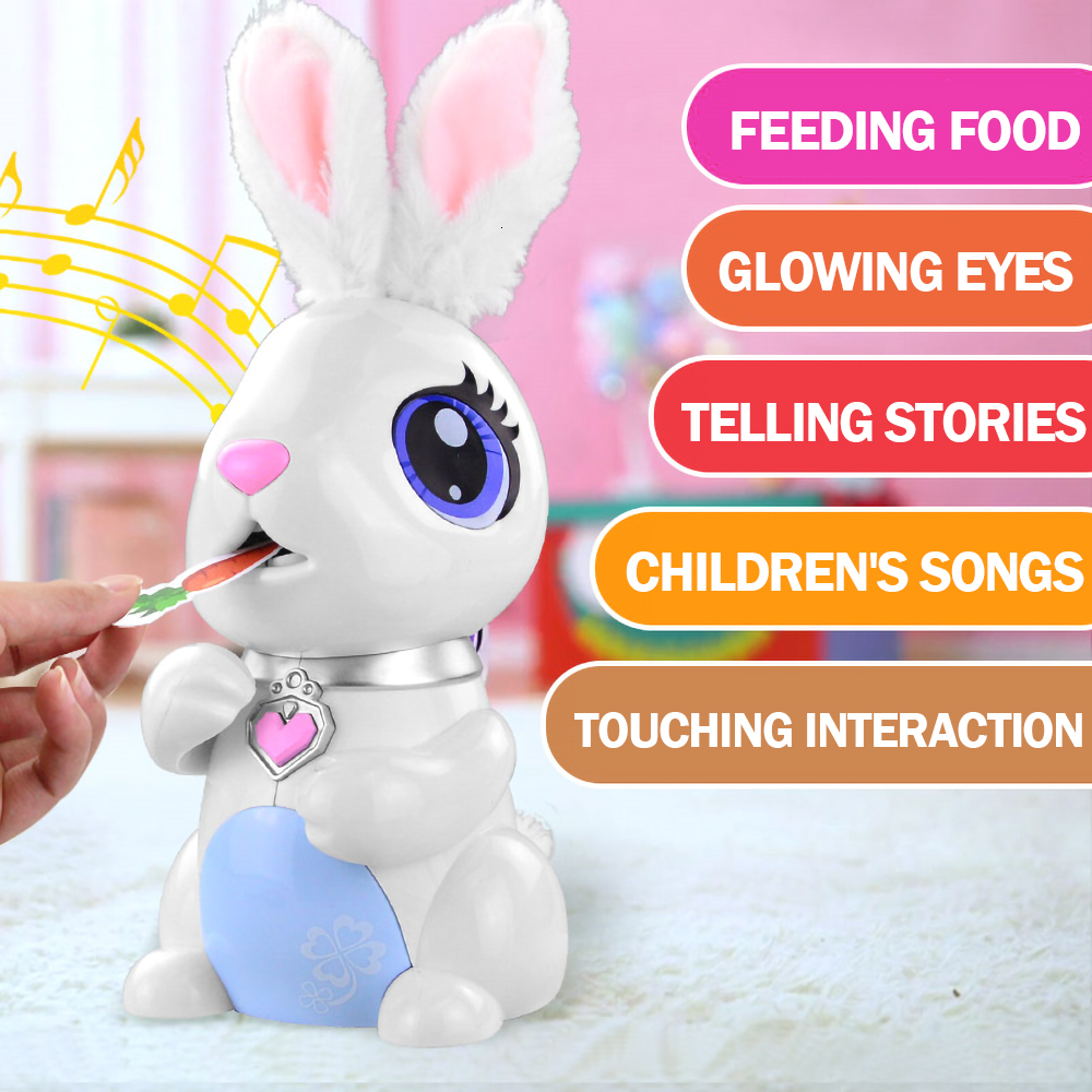 Robot Toy Hungry Bunnies Interactive Robotic Rabbit Gift For Kids Pretend Food Eating Music Electronic Robot