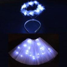 Женщины Девушки светодиодный вечерние светильник балетные пачки на проволоке с свечением Halo кольцевые повязки на голову ангел костюм сценическое шоу день рождения светящаяся юбка детский душ